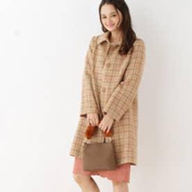 クチュール ブローチ Couture brooch バックリボンチェックツイードコート (ライトベージュ)