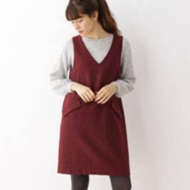 クチュール ブローチ Couture brooch ウールラメブッチャージャンパースカート (ボルドー)