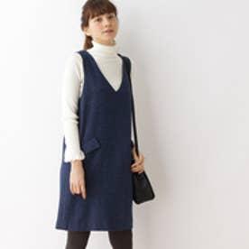 クチュール ブローチ Couture brooch ウールラメブッチャージャンパースカート (ブルー)