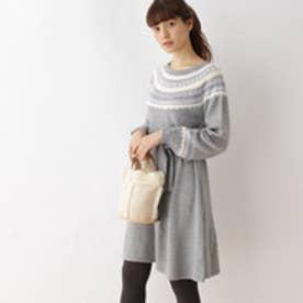 クチュール ブローチ Couture brooch フェアアイル柄ニットワンピース (グレー)