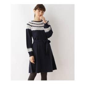 クチュール ブローチ Couture brooch フェアアイル柄ニットワンピース (ブルー系)