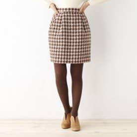 クチュール ブローチ Couture brooch ツイードコクーンスカート (ブラウン)