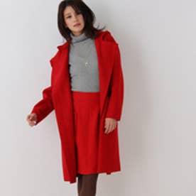 クチュール ブローチ Couture brooch 毛混ジャージーフーデッドコート (レッド)