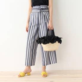 クチュール ブローチ Couture brooch コルセットベルト付きストライプパンツ (ブルー系)