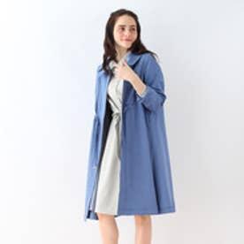 クチュール ブローチ Couture brooch 衿付きボリュームコート (ブルー)
