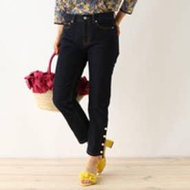 クチュール ブローチ Couture brooch フェイクパールクロップトデニム (ブルー系)
