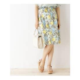 クチュール ブローチ Couture brooch 【WEB限定サイズ(SS・LL)あり】花柄タックフレアスカート (ベージュ)