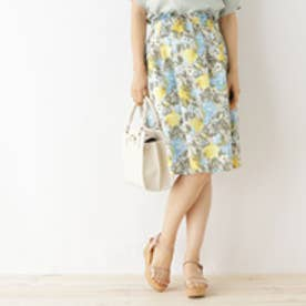クチュール ブローチ Couture brooch ◆【WEB限定サイズ(SS・LL)あり】花柄タックフレアスカート (オフホワイト)