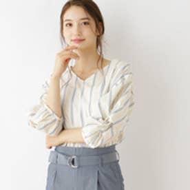 クチュール ブローチ Couture brooch 【WEB限定サイズ(S・LL)あり】ストライプVネックブラウス (イエロー)