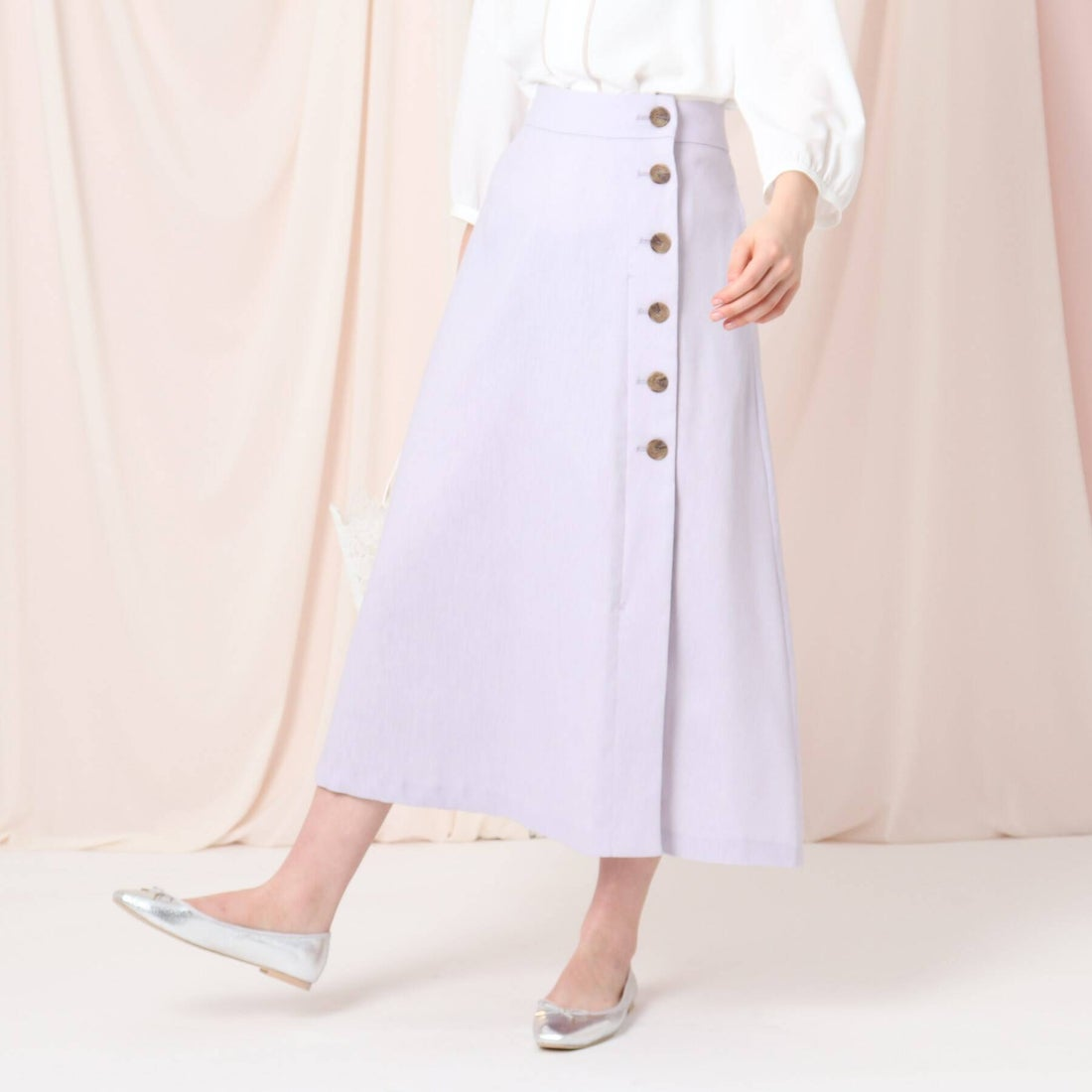 クチュール ブローチ Couture brooch 【洗える】リネン混タックボタンスカート (ライトパープル)