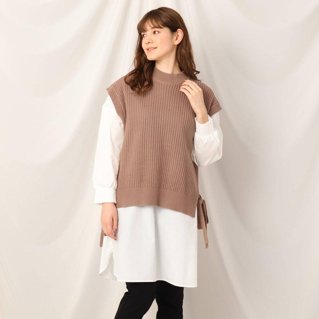 クチュール ブローチ Couture brooch ニットベストドッキングシャツチュニックワンピ (タバコブラウン)
