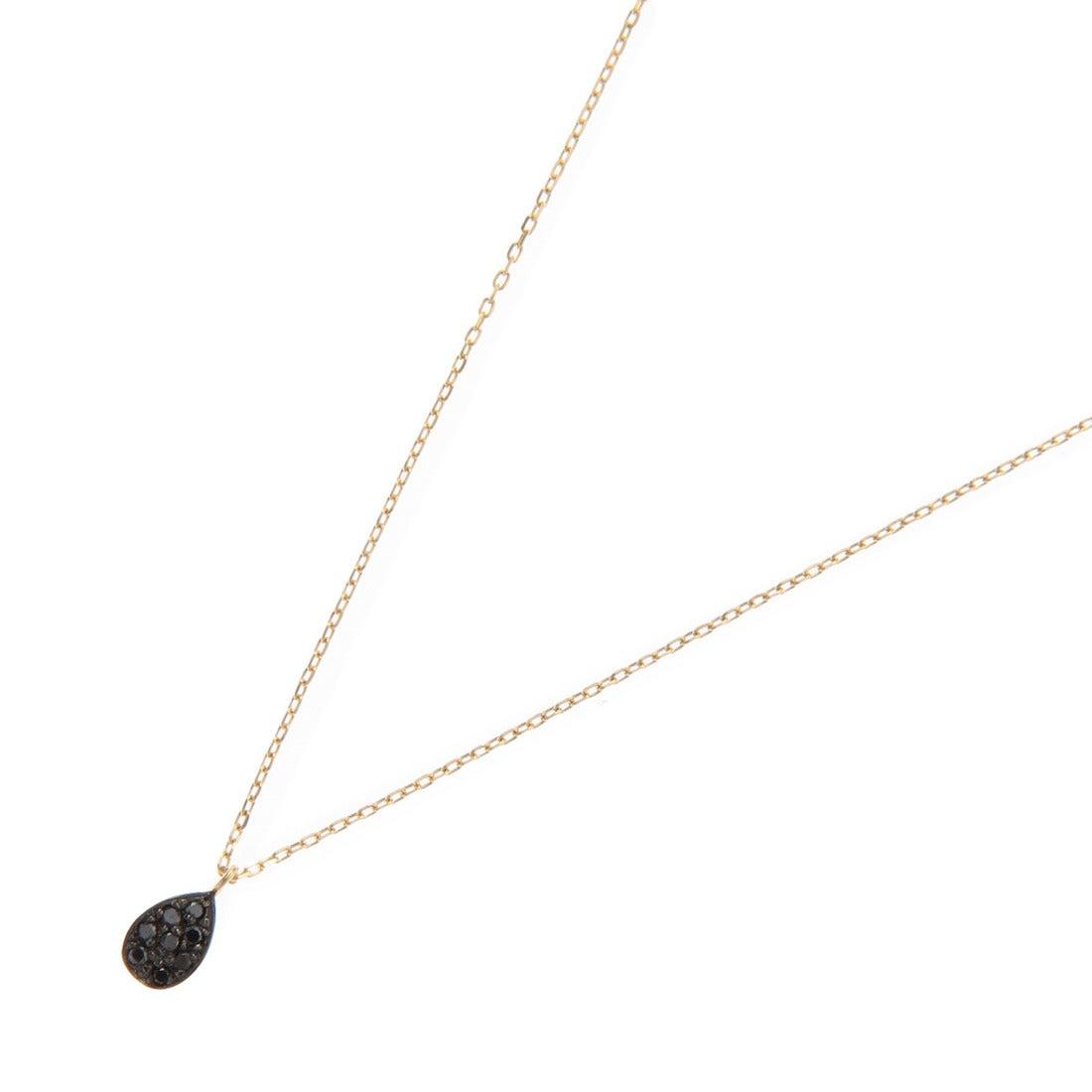 ココシュニック COCOSHNIK (K18)ブラックダイヤ ペアシェイプ パヴェネックレス (イエローゴールド)