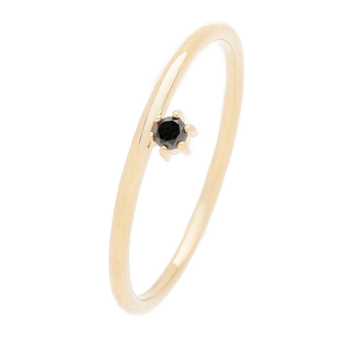 ココシュニック COCOSHNIK ブラックダイヤモンド 爪留1石リング (イエローゴールド)