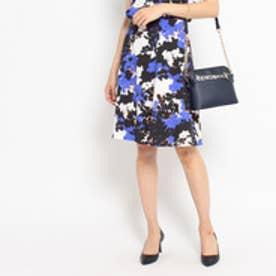 クードシャンス COUP DE CHANCE (洗える)シャドーフラワースカート (ブルー系)