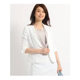 クードシャンス COUP DE CHANCE 【洗える】テーラードストレッチジャケット (ホワイト)