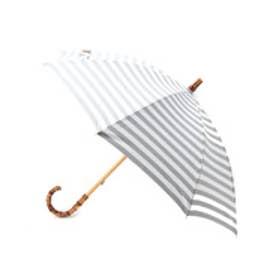 ドレステリア DRESSTERIOR Traditional Weatherwear ボーダーバンブー長傘 (グレー)