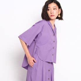 ドレステリア DRESSTERIOR 【洗える】オープンカラー五分袖シャツ (ライトパープル)