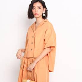 ドレステリア DRESSTERIOR 【洗える】オープンカラー五分袖シャツ (ライトオレンジ)