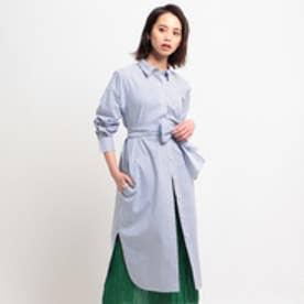 ドレステリア DRESSTERIOR ファインコットンベルテッドロングシャツドレス (ネイビー)