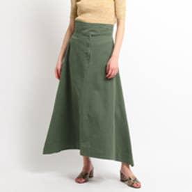 ドレステリア DRESSTERIOR ベルテッドAラインスカート (オリーブグリーン)