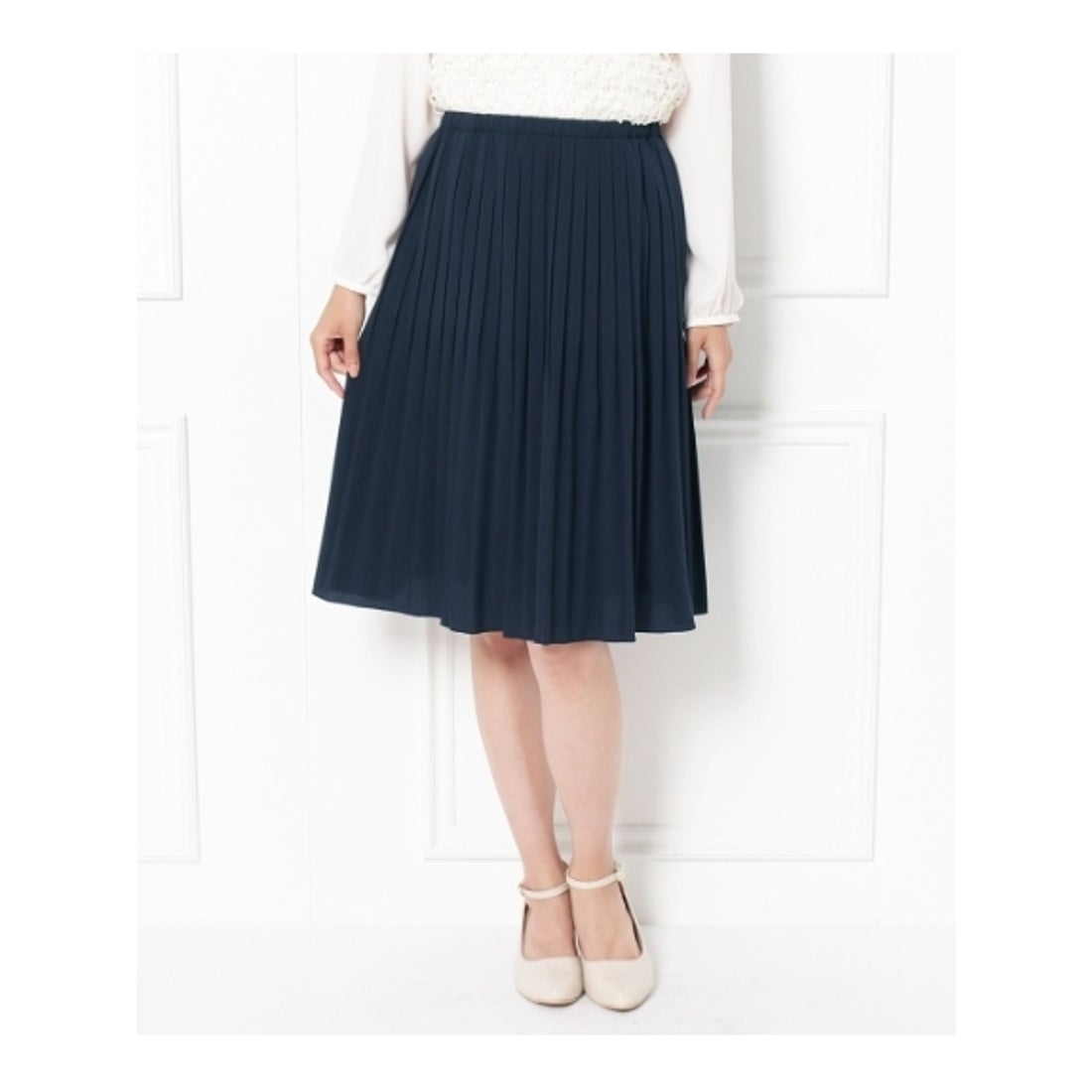 ロコンド 靴とファッションの通販サイトグローブgrove【オンライン限定先行販売】細プリーツスカート(ネイビー)