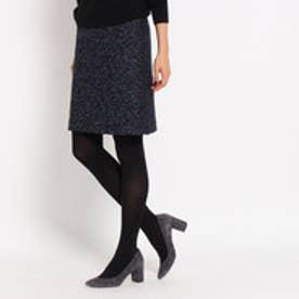インディヴィ INDIVI [S]ツイードAラインスカート (ネイビー)