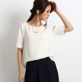 インディヴィ INDIVI バックスリットとろみシャツ (ホワイト)