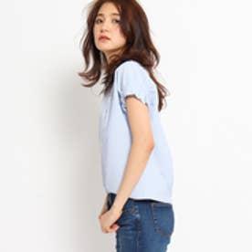 インディヴィ INDIVI タックスリーブストライプサッカーシャツ (ライトブルー)