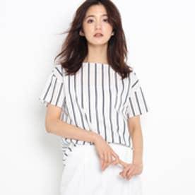 インディヴィ INDIVI ストライプブロードシャツ (ホワイト)