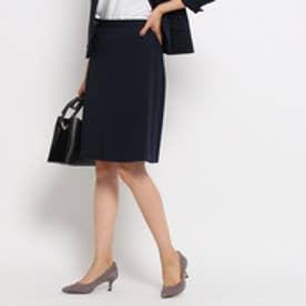 インディヴィ INDIVI 【洗える】カノコ台形スカート (ネイビー)