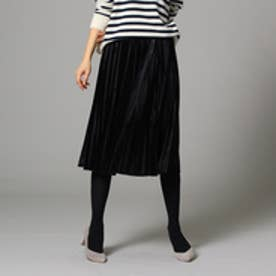 インディヴィ INDIVI 【WEB限定】ベロアプリーツスカート (ブラック)