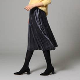 インディヴィ INDIVI 【WEB限定】ベロアプリーツスカート (ダークグレー)