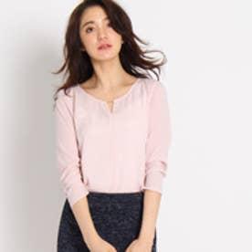 インディヴィ INDIVI 【WEB限定】メタルバージョーゼットシャツ (ピンク)