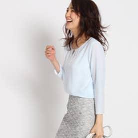 インディヴィ INDIVI 【WEB限定】メタルバージョーゼットシャツ (サックス)