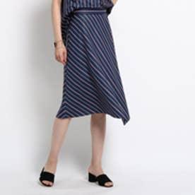 インディヴィ INDIVI [S]ブロックストライプスカート (ブルー系)