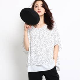 インディヴィ INDIVI [L]バックサテンドットプリントシャツ (ホワイト)