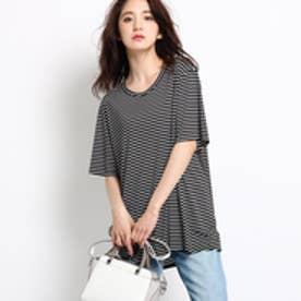 インディヴィ INDIVI [L]トリアセボーダーチュニックTシャツ (ブラック)