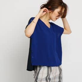 インディヴィ INDIVI 【洗える】[L]スポンジーバイカラーシャツ (ブルー×ネイビー)