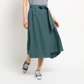 ジェット JET 【洗える】リネンオックスデザインスカート (モスグリーン)