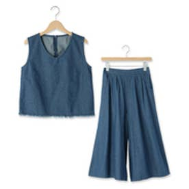 オゾック OZOC 裾フリンジ+ガウチョセットアップ (ブルー)