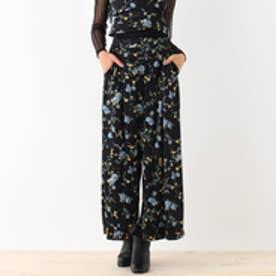 オゾック OZOC 花柄ベロアワイドパンツ (ブラック)