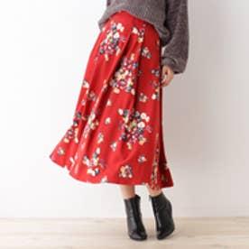 オゾック OZOC 花柄フレアミディスカート (レッド)