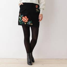 オゾック OZOC コーデュロイ刺繍ミニスカート (ブラック)