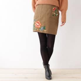 オゾック OZOC コーデュロイ刺繍ミニスカート (キャメル)