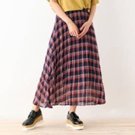 オゾック OZOC シフォンチェックプリーツスカート (ネイビー)