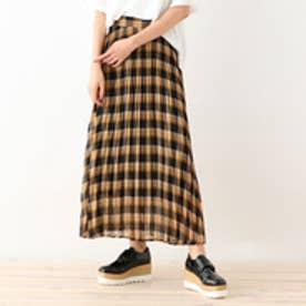 オゾック OZOC シフォンチェックプリーツスカート (ブラック)