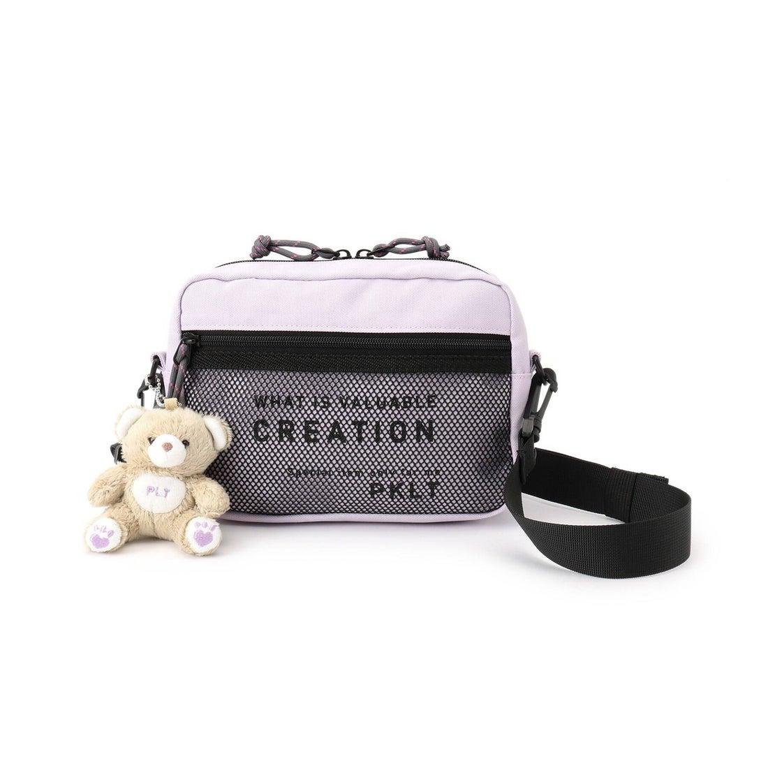 ピンク ラテ PINK-latte クマ付き2WAYショルダーバッグ (ライトパープル)