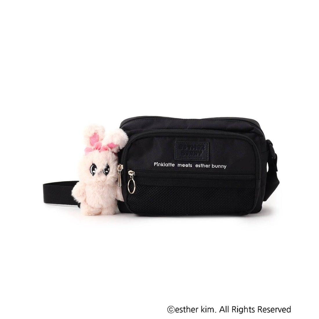 ピンク ラテ PINK-latte 【ESTHER BUNNY】ぬいぐるみ付ショルダーバッグ (ブラック)