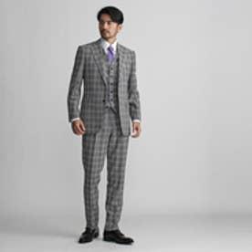 タケオ キクチ TAKEO KIKUCHI コロニアルチェックスリーピーススーツ FABRIC BY DORMEUIL (チャコールグレー)