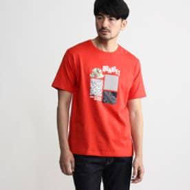 タケオ キクチ TAKEO KIKUCHI ボーラー切り替えプリントTシャツ (レッド)